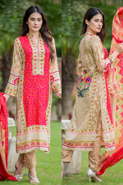 SALE Three Piece: Printed Beige Peony Kurti with Embroidered Back, Trousers & Scarf