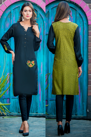 SALE Print & Plain Wildflower Kurti with Pocket Embroidery