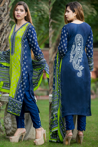SALE Three Piece: Navy Shades Lawn Kurti Embroidered Back with Trousers & Scarf