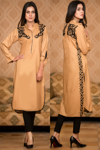 SALE Beige Kurta with Aari Work