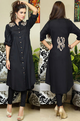 Black Shirt Kurti With Shoulder & Back Embroidery