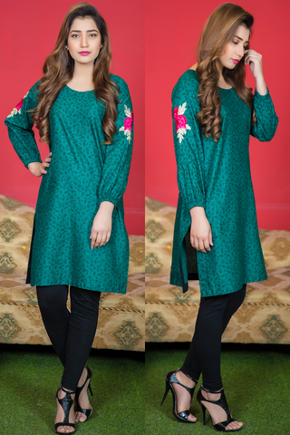 SALE Teal Green Tilla & Thread Embroidered Tunic