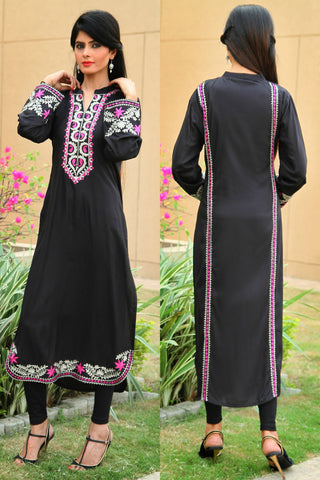 Black Kurti with Tilla & Aari Work - Damak  - 2