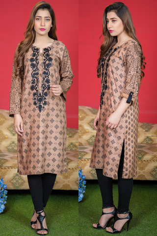 Beige Printed Kurta with Aari Embroidery