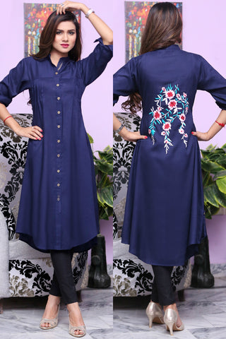 Navy Shirt Kurti with Floral Embroidery