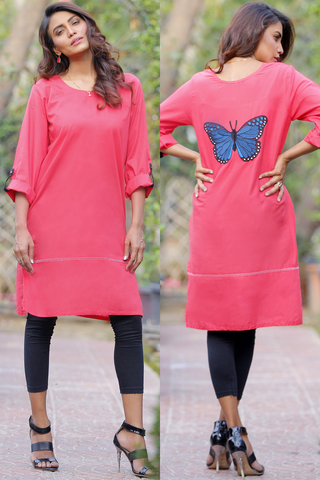 SALE Pink Red Monarch Butterfly Lawn Kurta