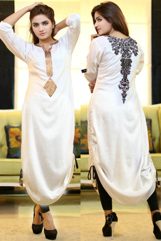 White Adjustable Length Kurti with Goldwork