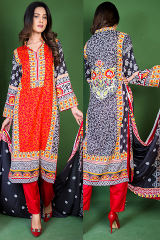 SALE Three Piece: Black Back Embroidered Peony Kurti with Trousers