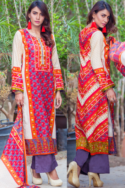 Three Piece: Fire Husk Lawn Kurta with Trouser & Scarf