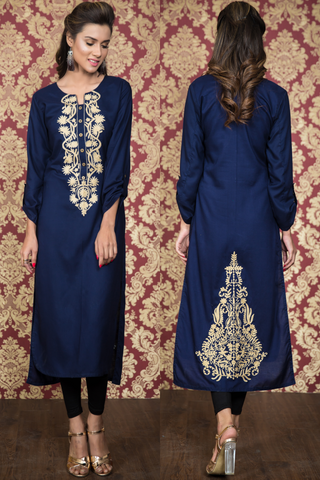 Navy Kurti with Beige Pasham Work