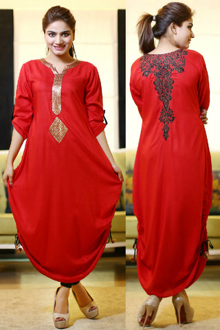 Red Adjustable Length Kurti with Goldwork