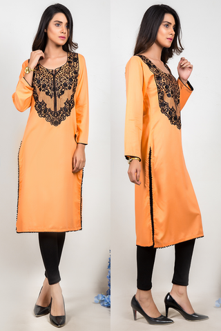 SALE Dark Peach Kurti with Embroidery & Ball Lace