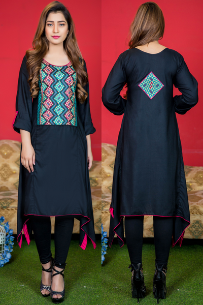 SALE Black Aztec Embroidered Frock Kurta