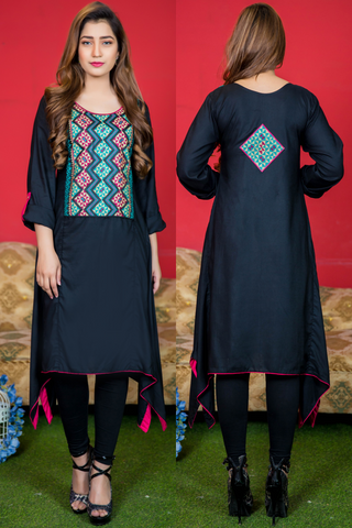 Black Aztec Embroidered Frock Kurta