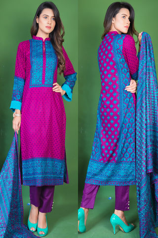 SALE Three Piece: Firozi Raspberry Kurti with Lace & Trousers
