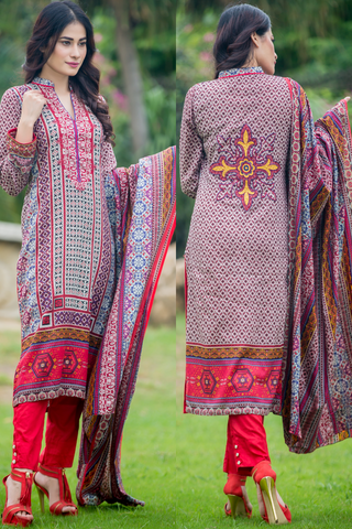 SALE Three Piece: Embroidered Lawn Enchanted Kurti with Trousers & Scarf