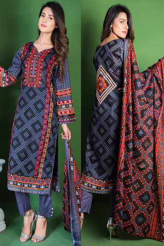 SALE Three Piece: Embroided Back Black Bandhani Kurti with Trousers