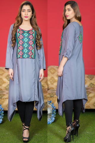 Grey Aztec Embroidered Frock Kurta