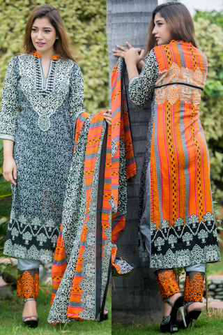 SALE Three Piece: Grey Orange Caesarae Lawn Kurti with Embroidered Trousers & Scarf