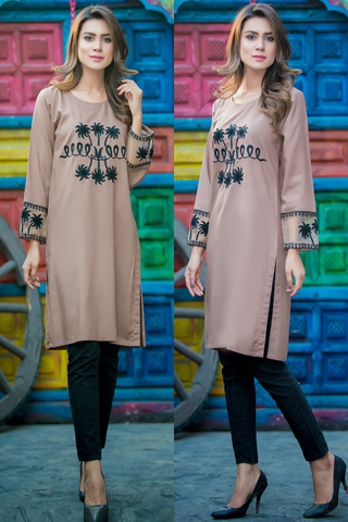 SALE Beige Dove Kurta with Aari Work