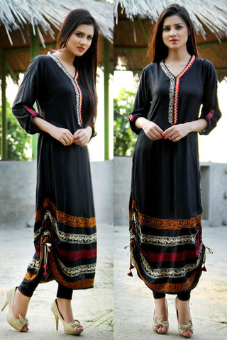 Black Adjustable Length Kurti with Aari Work - Damak  - 1