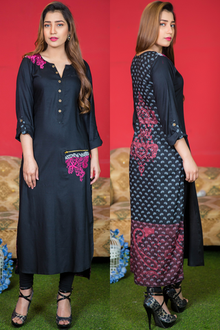 Print & Plain Black Long Kurti with Embroidery & Zip Pocket