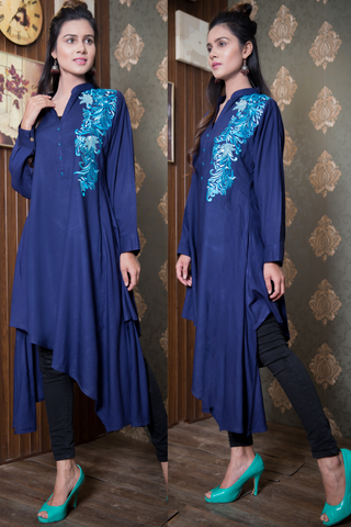 SALE Navy Flowers & Sequins Linen  Kurta