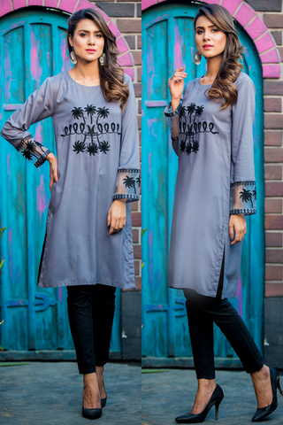 SALE Grey Dove Kurta with Aari Work