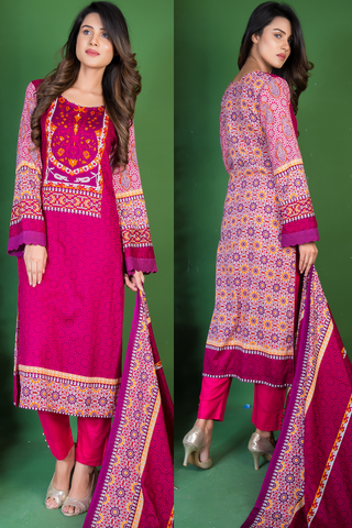 SALE Three Piece: Purple Andromeda Kurti with Lace & Trousers