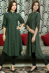 Bottle Green Kurti with Floral Shoulder Embroidery - Damak  - 1