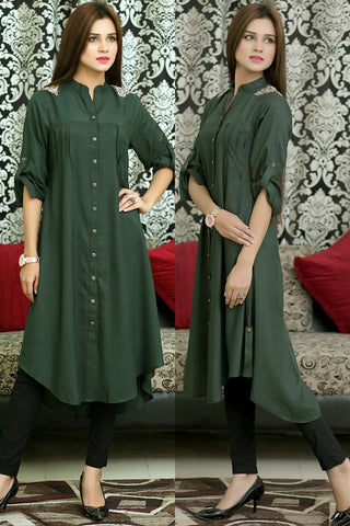 Bottle Green Shirt Kurti with Floral Shoulder Embroidery