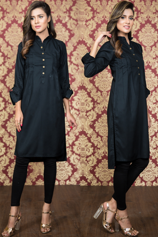 Black Pleated Linen Kurta