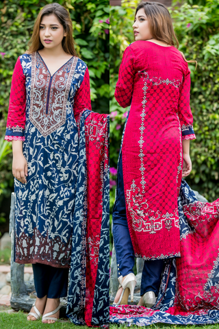SALE Three Piece: Navy-Pink Lawn Grebera Kurti with Trousers & Scarf