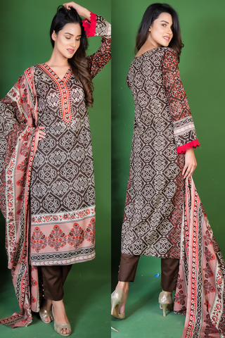 SALE Three Piece: Brown Red Chunri Kurti with Lace & Trousers