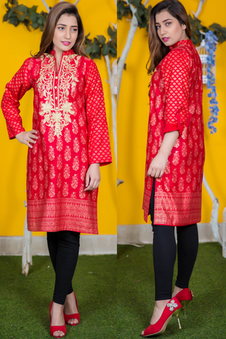 Red Tilla Embroidered Khadr Kurta