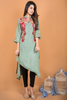 Green Linen Kurta with Sequin & Thread Embroidery
