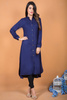 Navy Shirt Kurta with Embroidered Back