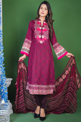 SALE Three Piece: Brown Strawberry Lawn Kurti with Trousers & Chiffon Scarf