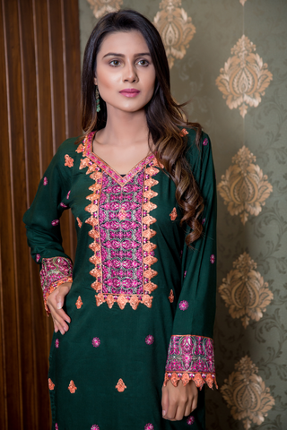 Bottle Green Embroidered Kurta with Net on Sleeves and Hemline
