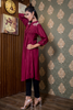Maroon Linen Shirt Kurta with Shoulder & Back Embroidery