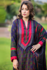 Three Piece: Navy Bandhani Kurti with Lace Sleeves