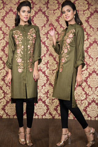 Double Embroidered Khaki Shirt Kurta
