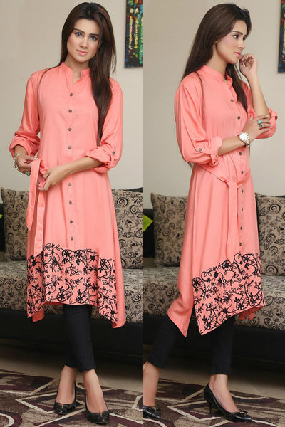 Peach Shirt Kurti with Hemline Aari Work - Damak  - 1