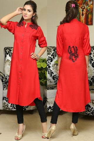 Red Shirt Kurti With Shoulder & Back Embroidery