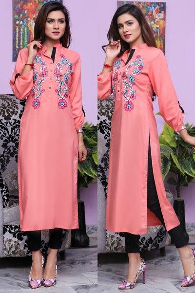 Peach Linen Kurti with Double Floral Aari Work