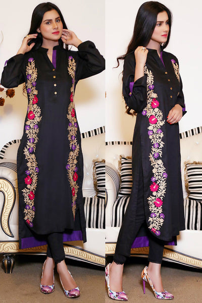 Black Kurti with Floral Aari Work - Damak  - 1