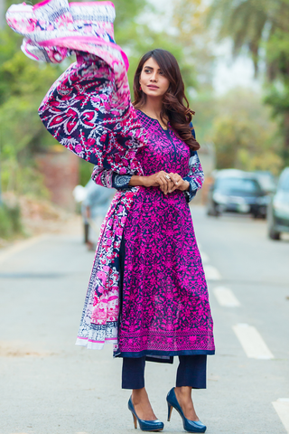Three Piece: Ocean Flower Kurta with Trouser & Scarf