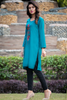 Sea-Green Midi Embroidered Kurta