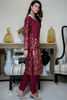 Three Piece: Maroon Mughal Linen Three Piece with Scarf