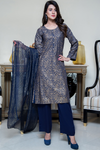 Three Piece: Navy Paisley Gold Linen Three Piece with Chiffon Gold Scarf